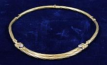 14K YELLOW GOLD COLLAR STYLE NECKLACE WITH DIAMOND ACCENTS, 16