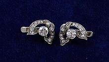 PAIR WHITE GOLD EUROPEAN CUT DIAMOND EARRINGS WITH APPROX 1.32 CTW, 3/4