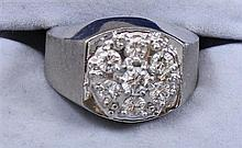 14K WHITE GOLD EIGHT DIAMOND CLUSTER RING 1.25 CTW, SIZE 9 1/4 REPLACEMENT VALUE $$3,095.00 ~   19.5 GRAMS TOTAL