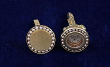 LUCIEN PICCARD 14K YELLOW GOLD WATCH CUFF LINKS WITH PEARL ACCENTS, 3/4