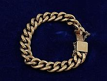 HALLMARKED YELLOW GOLD LINK BRACELET, 7 3/4