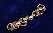 VINTAGE YELLOW GOLD BAR AND LOOP BRACELET WITH HEART CHARMS, 7 3/4