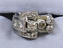 VINTAGE 14K WHITE GOLD MULTI-DIAMOND RING APPROX 1.66 CTW, SIZE 6 1/2 REPLACEMENT VALUE $2,535.00 ~  9.1 GRAMS TOTAL