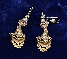 PAIR VINTAGE YELLOW GOLD DANGLE EARRINGS WITH PEARL ACCENTS, 2 3/4