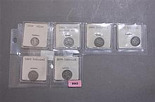 1858 SEATED LIBERTY HALF DIME, 1865 66, 67, 69, 70 3 CENT NICKLE