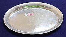 HAMMERED 800 SILVER OVAL TRAY, 9 1/2