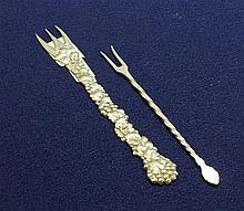 TWO 800 AND 830 SILVER PICKLE FORKS 4 1/4