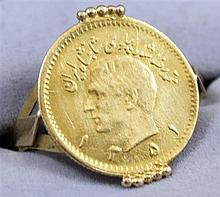 EGYPTIAN GOLD COIN SET IN 18K RING, 2.95 GRAMS TW