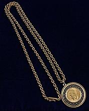 1912- ONE SOVEREIGN .9170 GOLD IN 18K GOLD BEZEL WITH CHAIN 35.06 GRAMS TW