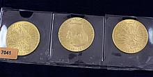 (3) 1915-100 CORONA .900/33.8753 GRAMS PER COIN