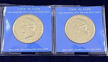 (2) COOK ISLAND $250 GOLD COINS .900/17.9 GRAMS PER COIN
