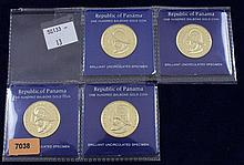 (4) 1975 REPUBLIC OF PANAMA - GOLD COINS 100 BALBOAS .900/8.106 GRAMS PER COIN