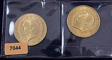 (2) 1955 DOMINICAN REPUBLIC 30 PESO GOLD COINS .900/29.62 GRAMS PER COIN