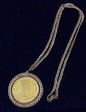 18K ROSE GOLD NECKLACE & AUSTRIAN GOLD MEDALLION 46.5 GRAMS