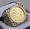 1909 HALF SOVEREIGN GOLD COIN .9170 GOLD IN 10K GOLD RING, 19.3 GRAMS TW
