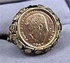JFK GOLD COMMEMMORATIVE COIN SET IN 10K RING, 4.8 GRAMS TW
