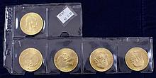 (5) 1915-100 CORONA GOLD COINS .900/33.8753 GRAMS PER COIN