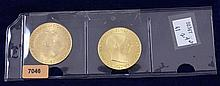(2) 1915 100 CORONA GOLD COINS .900/33.8753 GRAMS PER COIN