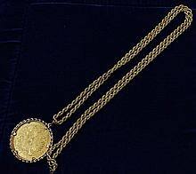 1915 AUSTRIAN 4 DUCAT RESTRIKE .9860/41.6 GRAMS IN 18K ITALIAN GOLD ROPE NECKLACE AND BEZEL