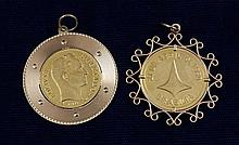 2 GOLD COIN PENDANTS