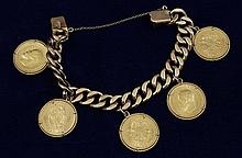 (5) 1904-10 ROUBLES .900 GOLD ON 14K GOLD CHAIN, 116.6 GRAMS TW