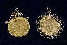 1912 1/2 SOVEREIGN IN GOLD BEZEL AND 1927 AUSTRALIAN SOVEREIGN, .917 GOLD IN 14K BEZEL, 14.2 GRAMS TW