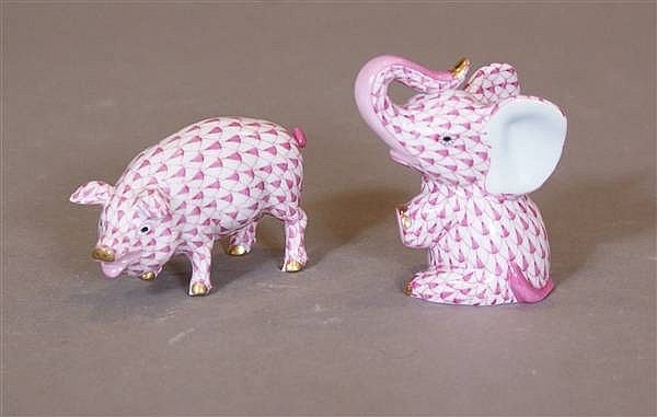 "(2) HEREND CHINA HANDPAINTED ANIMAL FIGURES, 1 3/4"" - 3""H"