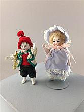 2 GERMAN ALL BISQUE DOLLS INCLUDING 3 1/2