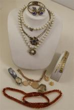 LOT COSTUME NECKLACES INCLUDING AMBER TONE BEADED AND GOLDTONE BRACELET AND WATCH