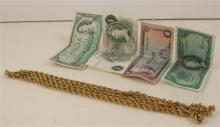 GOLDTONE NECKLACE AND FOREIGN CURRENCY