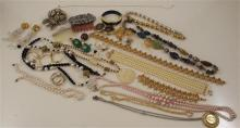 LOT COSTUME BEADED NECKLACES, PINS AND HAIR COMBS