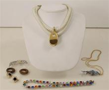 LOT COSTUME NECKLACES INCLUDING ROPE, FISH PENDANT, PINS AND EARRINGS