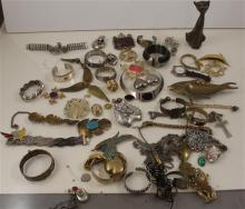 LARGE LOT COSTUME JEWELRY, BRASS CAT FIGURE CHOKER NECKLACE, BANGLES AND PINS