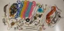 LARGE LOT COSTUME JEWELRY, BEADED NECKLACES, CHAINS, PINS, RINGS AND PIECES OF METAL