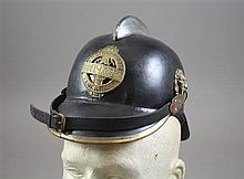 ANTIQUE AUSTRIAN LEATHER FIREMAN HELMET/ OBER LOIBEN