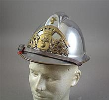 FRENCH MODEL 1933 FIREFIGHTER HELMET WITH BRONZE BADGE