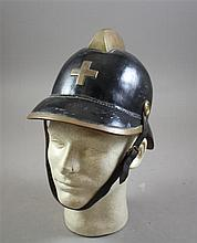 SWISS BLACK HARDENED LEATHER FIRE HELMET
