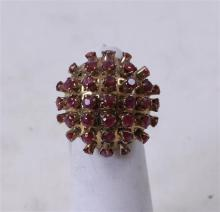 STAMPED 14K YELLOW GOLD DOMES RUBY CLUSTER FASHION RING, SIZE 4 1/2, 5.4 GRAMS TOTAL