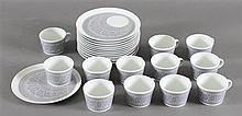 12 SETS ARABIA FINLAND KAJ FRANCK MID CENTURY MODERN CHINA SNACK SETS, ALL ARE STAMPED, VERY MINOR WEAR OVERALL, GRAPHICS ARE CRISP