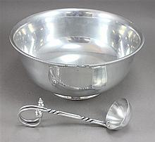 CAST ALUMINUM PUNCH BOWL AND LADLE, PUNCH BOWL IS 14 1/2
