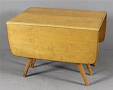 HEYWOOD WAKEFIELD MID CENTURY MODERN 197G TRIPLE PEDESTAL DROP LEAF EXTENSION TABLE  WITH 18