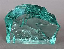 CONTEMPORARY GLASS ICEBERG SCULPTURE WITH ESKIMO IN BOAT, FIGURE HAS BEEN CARVED INTO BOTTOM OF PIECE, 9