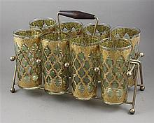 MID CENTURY MODERN GOLD AND GREEN TUMBLER SET IN CADDY, GOOD GOLD ON GLASSES, CADDY IS 12
