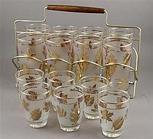 1960s GOLD AND FROSTED GLASSES IN HOLDER WITH 6 EXTRA OLD FASHIONS, CADDY DIMENSIONS ARE 13