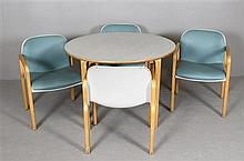 5 PIECE KEMBO HOLLAND/THONET MID CENTURY MODERN TABLE AND CHAIR SET.