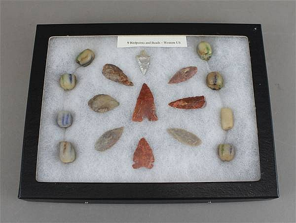 (9) BIRD POINTS AND BEADS FROM WESTERN U.S. IN CASE 8