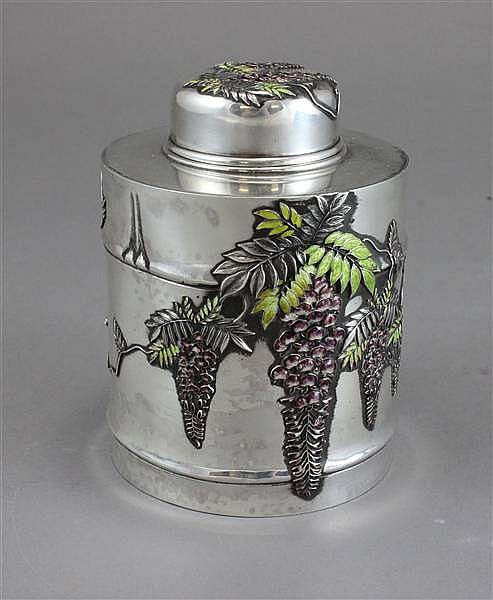19TH CENTURY JAPANESE MEIJEI PERIOD STERLING SILVER & ENAMEL TEA CADDY