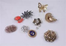 LOT COSTUME JEWELRY PINS AND EARRINGS  INCLUDING CORO