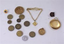 LOT INCLUDING POCKET WATCH, TIE BAR, TOKENS  AND MEDALS