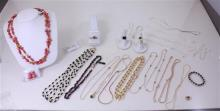 LOT COSTUME BEADED NECKLACES, SILVER AND GOLDTONE CHAINS, EARRINGS AND COSTUME RINGS